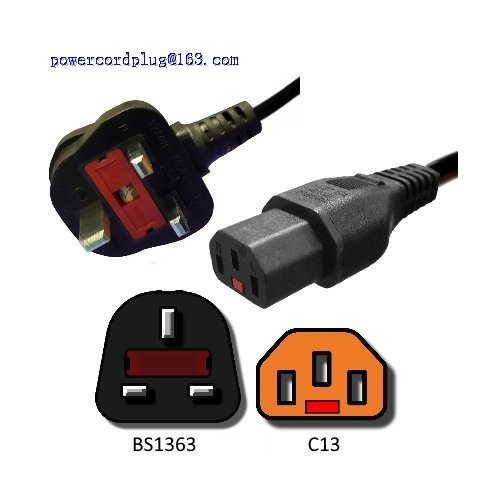 AC Power Cord UK BS1363 to Locking C13-2 Meters