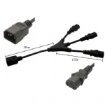 IEC 320 C14 Male to 3 x C13 Female Y Splitter Power Cable