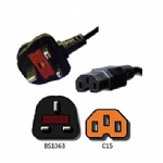 AC Power Cord UK BS1363 to C15
