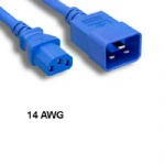Blue 4 Ft AC Power Cord Cable C13 to C20 14AWG 15A SJT