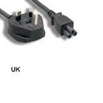 6Ft 3 Prongs AC Power Cable IEC320 C5 To UK England BS1363